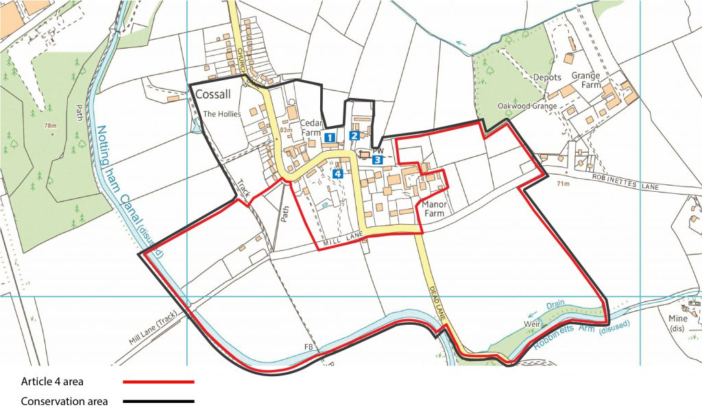 Map showing conservation area of Cossall