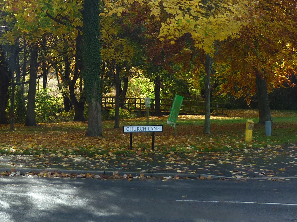 Photo of Cossall Church Lane street sign surrounded by trees