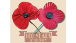 image of two poppies and the 100 years banner